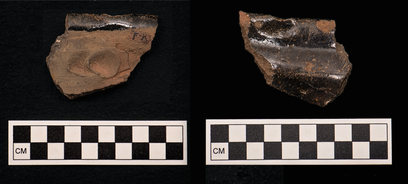 These sherds are remarkable in that they display the potter's fingerprints. While this would not have been one of the Aldens, these are a direct connection with someone else who lived long ago.
