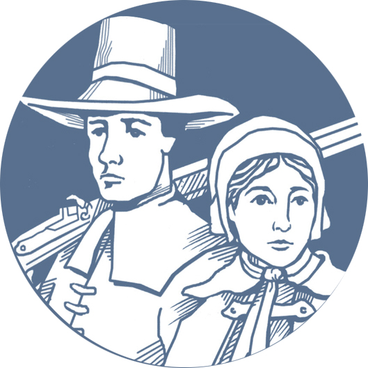 Alden House Logo showing John and Priscilla