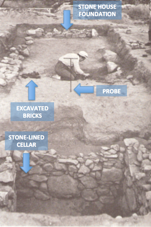 Sepia photograph of 1960s excavations with arrows pointing to the archaeological probe, excavated bricks, and stone-lined cellar