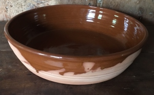 Reproduction milk pan with interior brown glaze